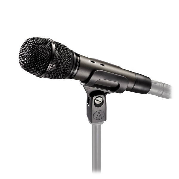 Audio Technica ATM710 Handheld Cardioid Condenser Microphone, Mounted to Stand