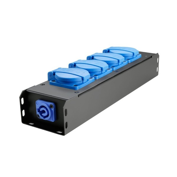 Adam Hall Proport IP54 Rated Power Strip, 4 Blue EU Sockets
