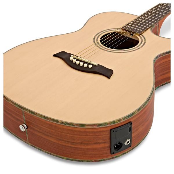 Deluxe Single Cutaway Electro Acoustic Guitar by Gear4music, Padauk close