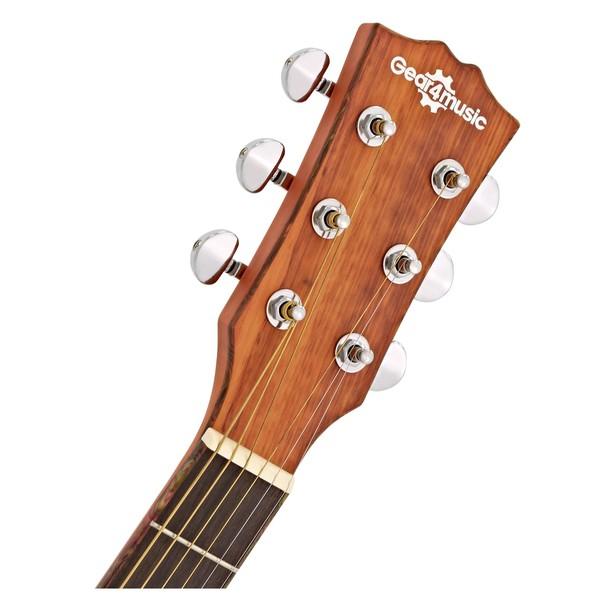 Deluxe Single Cutaway Electro Acoustic Guitar by Gear4music, Padauk head