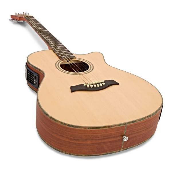 Deluxe Single Cutaway Electro Acoustic Guitar by Gear4music, Padauk angle