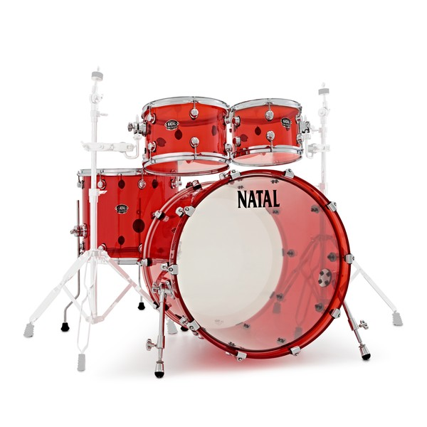 """Natal Arcadia Acrylic 22"""" 4 Piece Shell Pack, Transparent Red main"""