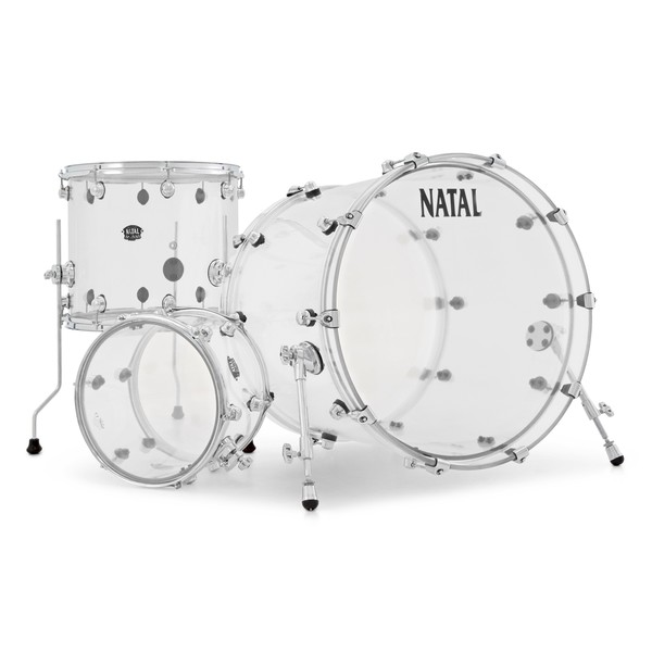 "Natal Arcadia Acrylic 22"" 3 Piece Shell Pack, Transparent"