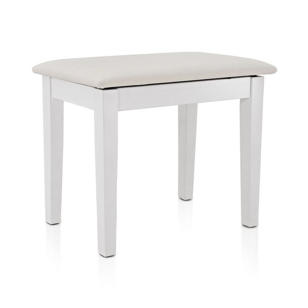 Piano Stool with Storage by Gear4music, White