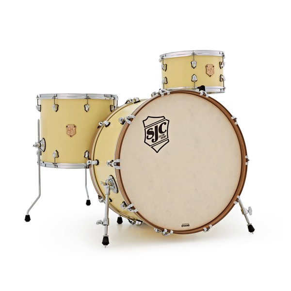SJC Drums Heirloom 24'' 3pc Shell Pack, Matt Custard Yellow