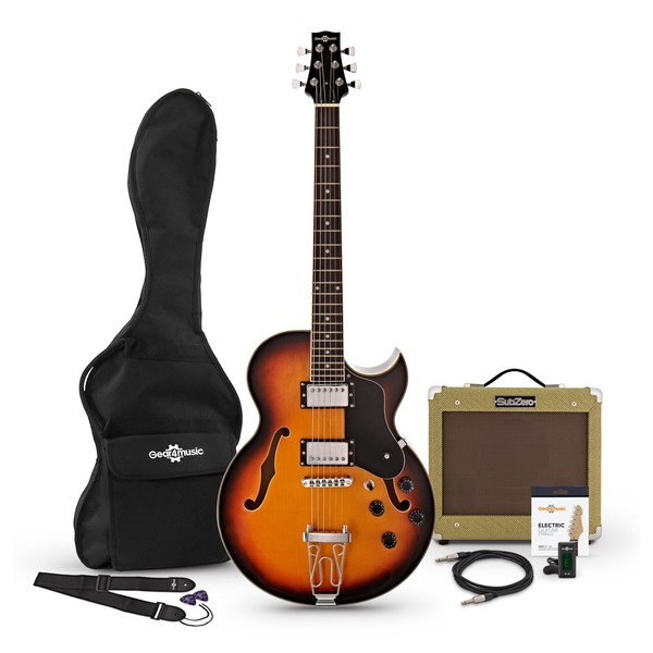 San Diego Semi Acoustic Guitar and SubZero V35RG Amp Pack, Sunburst pack