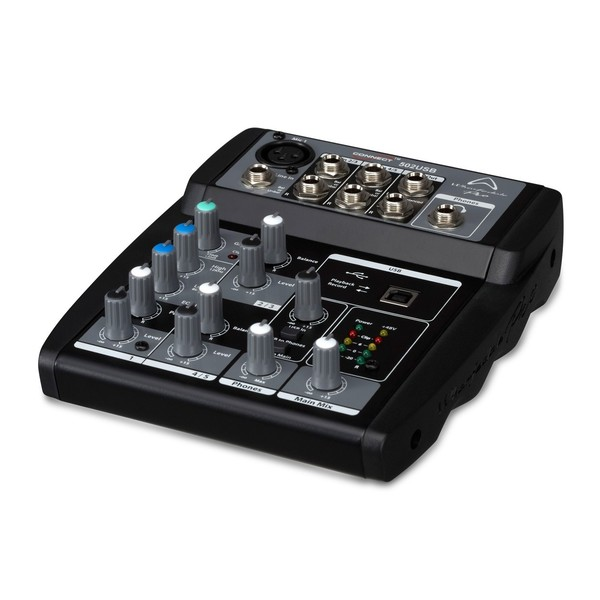 Wharfedale Pro Connect 502USB 5-Channel Compact Mixer, Angled Left