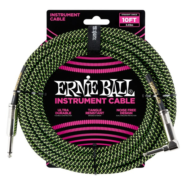 Ernie Ball 10ft Straight-Angle Braided Instrument Cable, Black/Green - Front