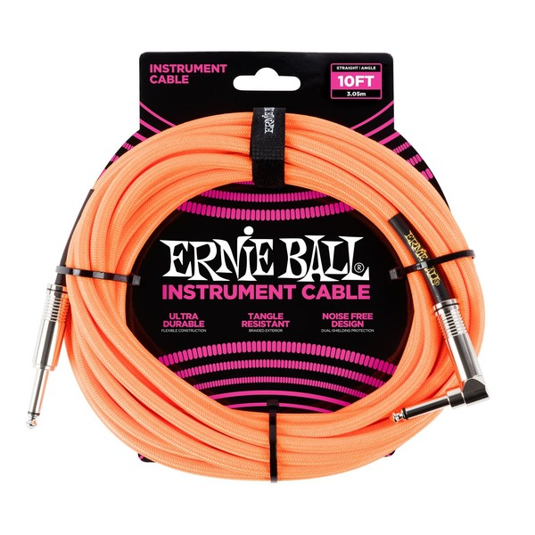 Ernie Ball 10ft Straight-Angle Braided Instrument Cable, Orange - Front