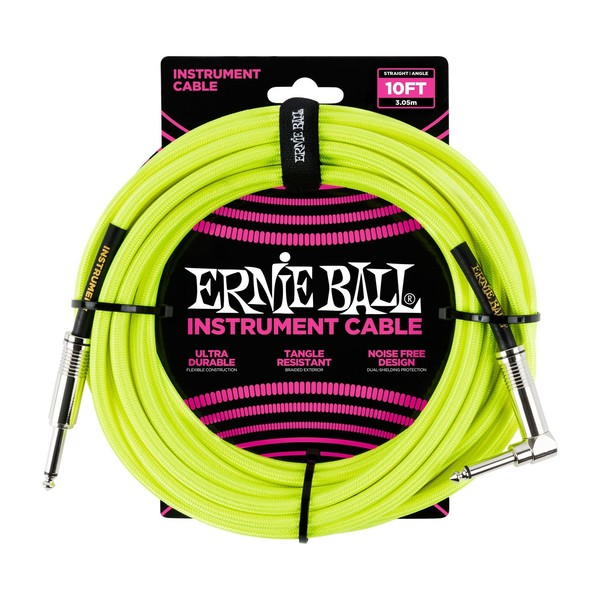 Ernie Ball 10ft Straight-Angle Braided Instrument Cable, Yellow - Front