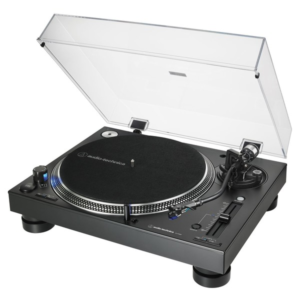 Audio Tehnica AT-LP140XP Direct Drive DJ Turntable, Black - Angled
