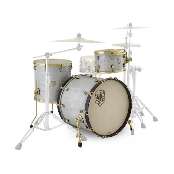 "SJC Drums Providence 22"" 3pc Shell Pack, White Ripple, Brass HW - Main Image"