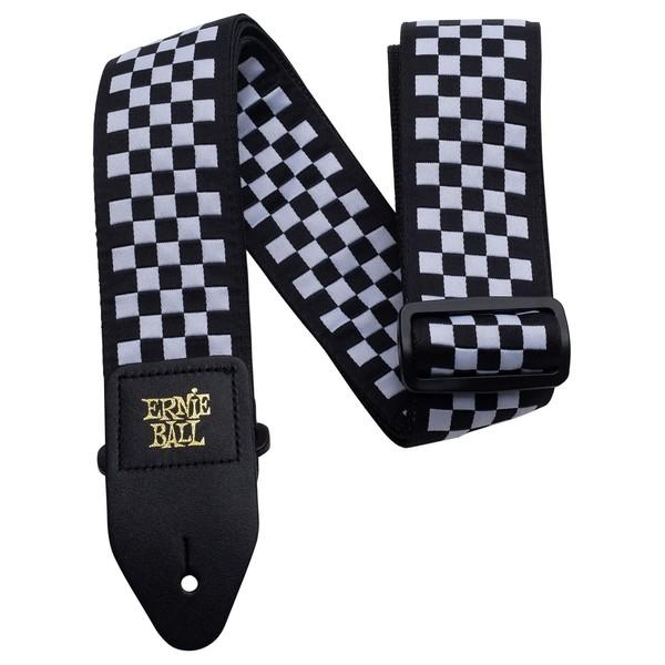 Ernie Ball Checkered Jacquard Strap, Black & White  - Main