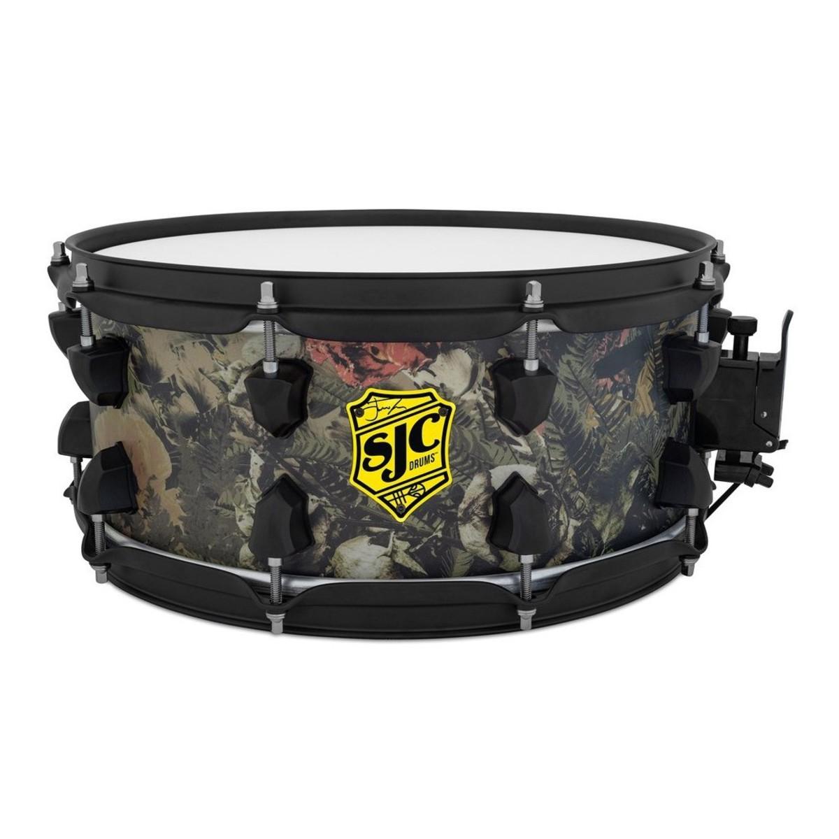 SJC Drums Josh Dun 14 x 6 ''Trench Camo'' Snare Drum, Black HW