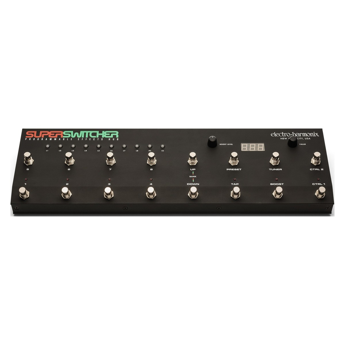 Click to view product details and reviews for Electro Harmonix Super Switcher Programmable Effects Hub.