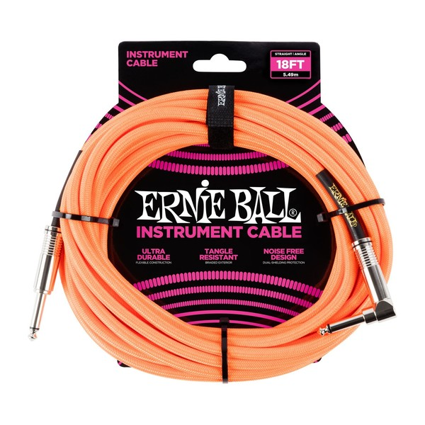 Ernie Ball 18ft Straight-Angle Braided Instrument Cable, Orange - Front