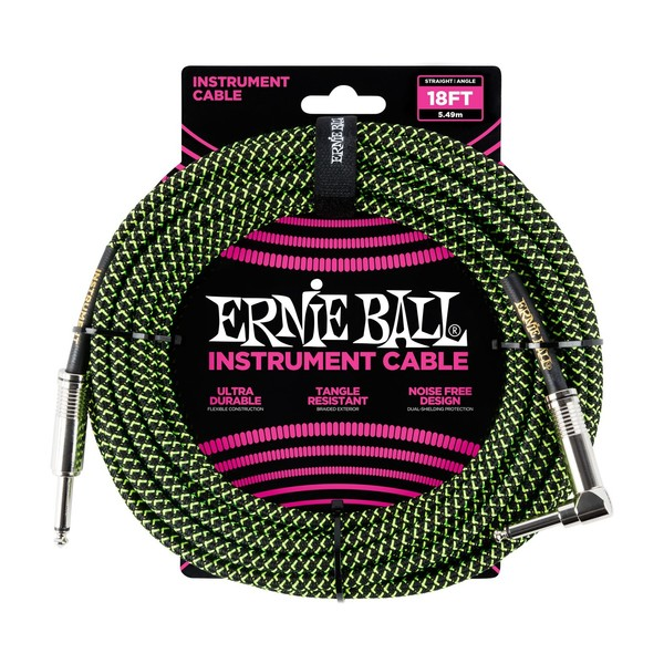 Ernie Ball 18ft Straight-Angle Braided Instrument Cable, Black/Green