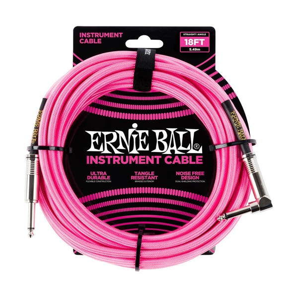 Ernie Ball 18ft Straight-Angle Braided Instrument Cable, Neon Pink - Front