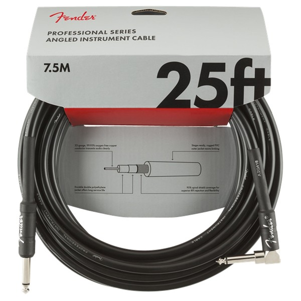 Fender Professional 25ft Straight/Angle Instrument Cable, Black - Pack