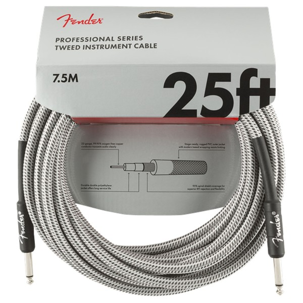 Fender Professional 25ft Straight Instrument Cable, White Tweed - Front
