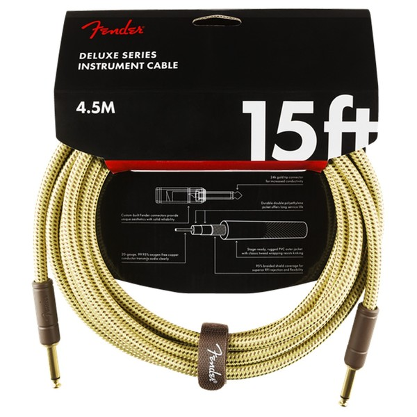 Fender Deluxe 15ft Straight Instrument Cable, Tweed - Pack