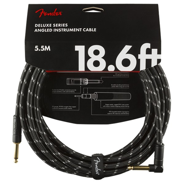 Fender Deluxe 18.6ft Straight/Angle Instrument Cable, Black Tweed - Pack