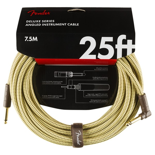 Fender Deluxe 25ft Straight/Angle Instrument Cable, Tweed - Pack