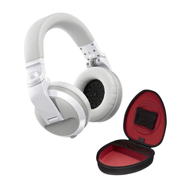 Pioneer HDJ-X5BT Bluetooth DJ Headphones, White with Case