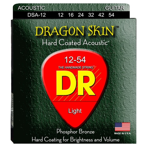 DR Strings Dragon Skin K3 Coated Acoustic Strings 2-Pack Med, 12-54 - pack