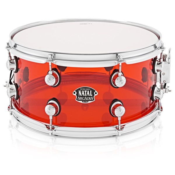 Natal Arcadia 14 x 6.5 Acrylic Snare, Transparent Red