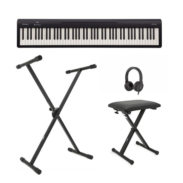 Roland FP-10 Digital Piano with Stand, Stool and Headphones, Black