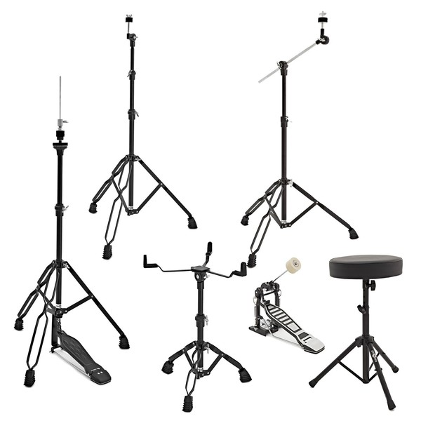 Complete Drum Hardware Pack by Gear4music, Black