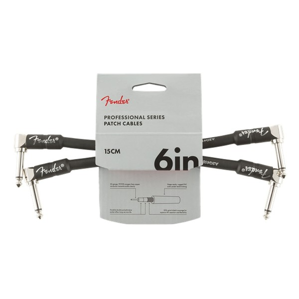 "Fender Professional 6"" Patch Cable 2-Pack, Black - Front"