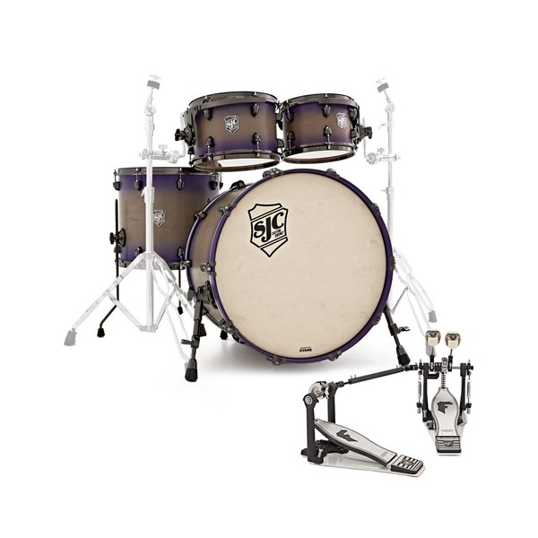 "SJC Custom Drums 22"" 4pc Shell Pack, Grey To Purple Burst FREE Pedal - Main Image"