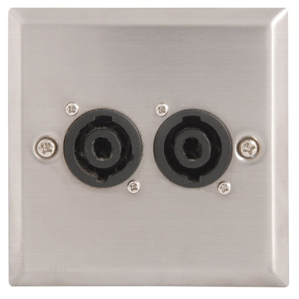 Steel AV Wallplates with 2 x Speaker Connectors