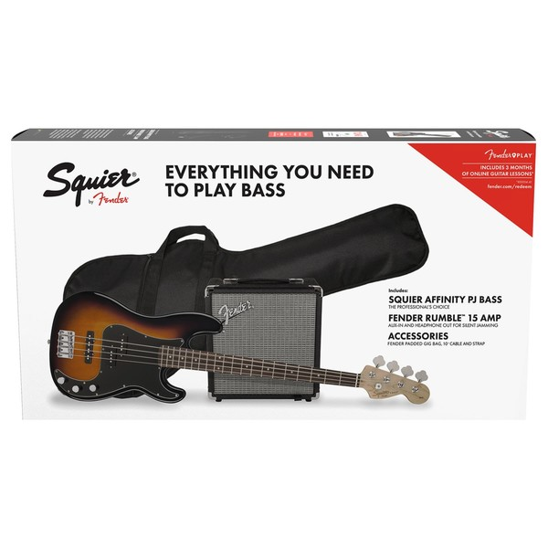 Squier Affinity PJ Bass Pack, Brown Sunburst - Main