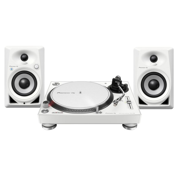 Pioneer PLX-500 Turntable with DM-40BT Monitor Speakers, White - Full Bundle