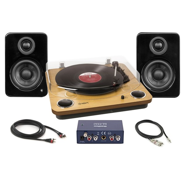 ION Max LP USB Turntable with Kanto YU2 Speakers - Full Bundle
