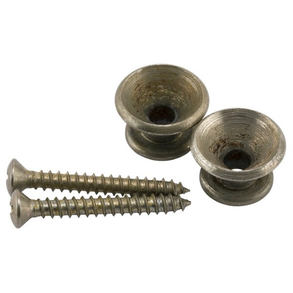 2 w//SCREWS *NEW* NICKEL STRAP BUTTONS VINTAGE STYLE FOR FENDER GUITAR /& BASS
