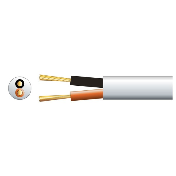 Mercury Double Insulated 100V Line Speaker Cable, 2x79 White 100m