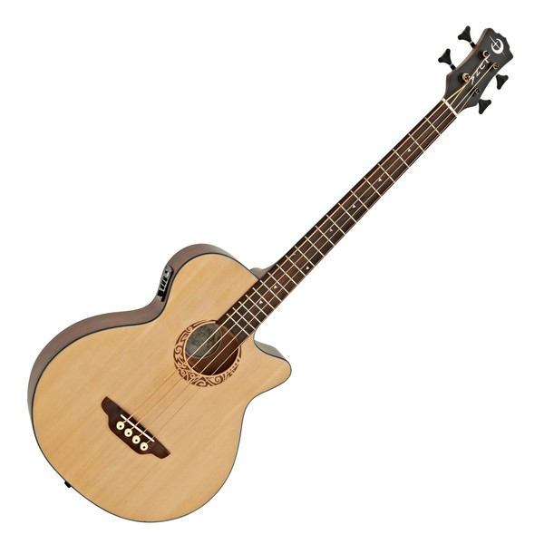 Luna Tribal Electro Acoustic Bass, Satin Natural