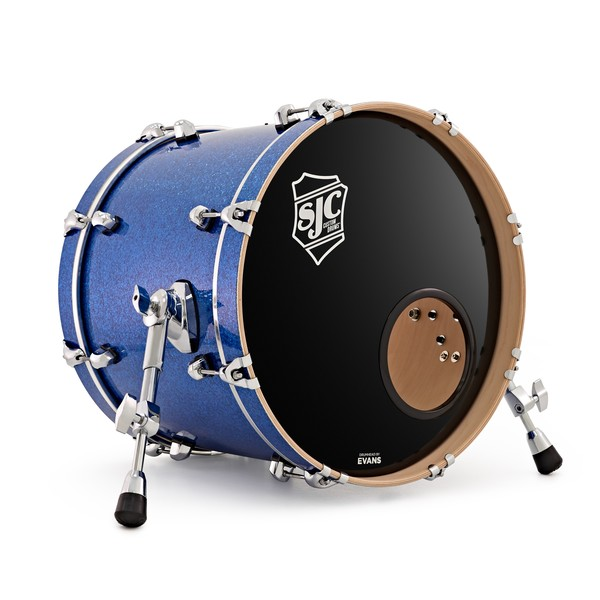 SJC Custom Drums 15 x 18 Kick Drum, Blue Glass Glitter for Ed Payne