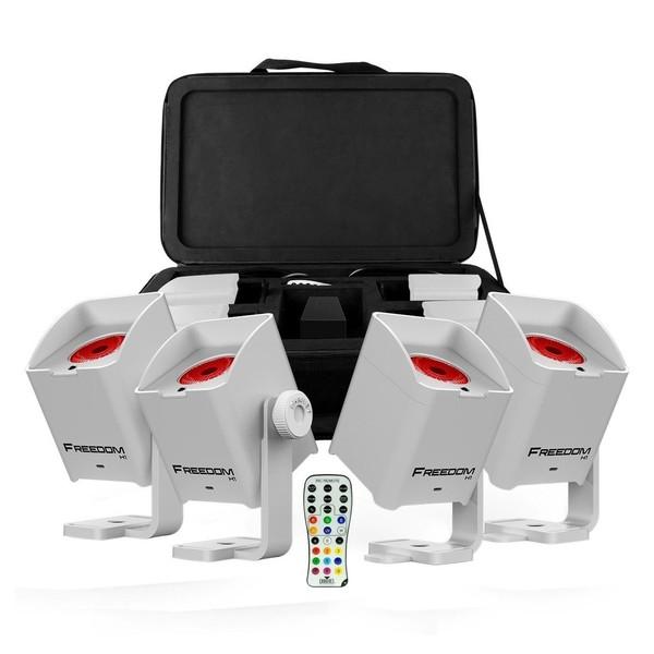 Chauvet Freedom H1 Wireless LED Wash Lighting System, 4 Pack, White, Full Package