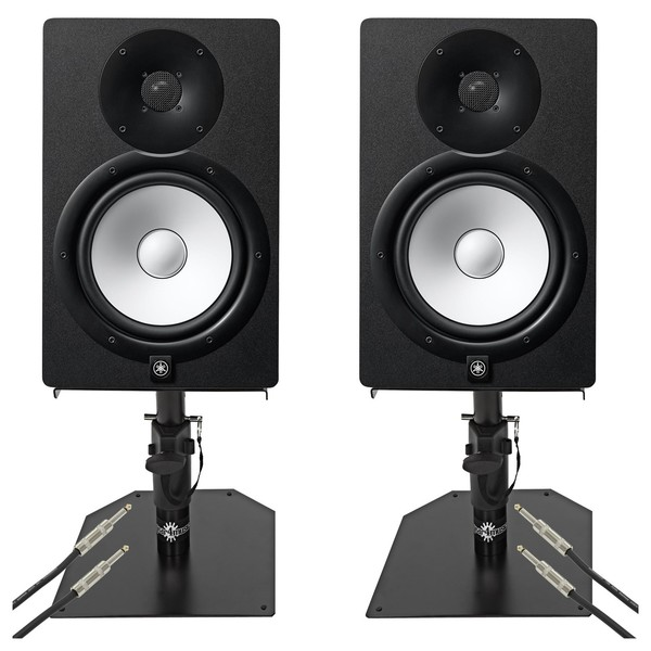 Yamaha HS8 Active Studio Monitors with Free Desktop Stands & Cables - Full Bundle
