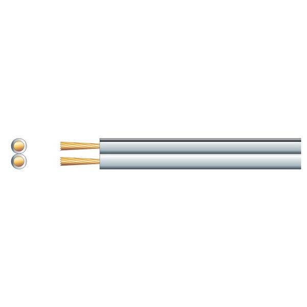 Mercury Heavy Duty Fig 8 Speaker Cable, 2x42 White 100m