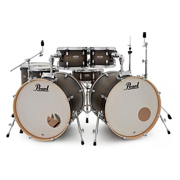 Pearl Decade Maple 7pc Double Kick Drum Kit, Satin Black Burst