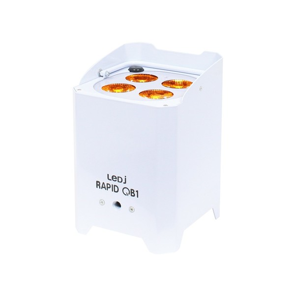 LEDJ Rapid QB1 RGBA Battery-Powered LED Uplighter, White Housing, Front Angled Lit
