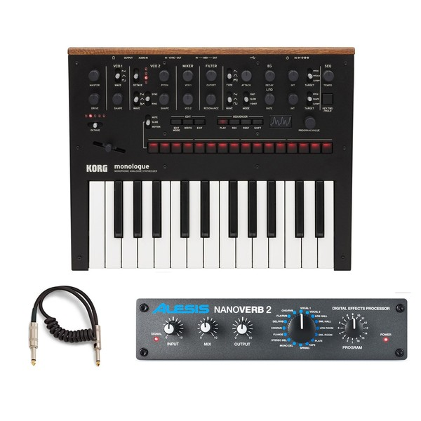 Korg Monologue Synthesizer, Black and Nanoverb 2 Bundle
