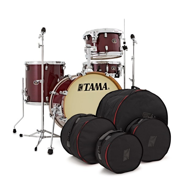 Tama Silverstar 18'' Complete set w/Hardware and Bags, Dark Cherry pack