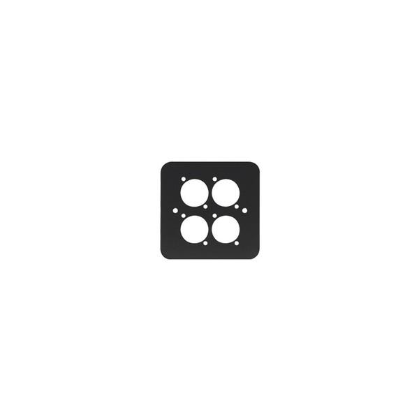 Penn Elcom Single Gang 4 x D Type Wall Plate, Black